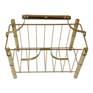Vintage Mid-Century Faux Bamboo Style Brass Magazine Holder For Sale
