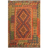 Image of Tribal Kilim Arya Alfred Orange Wool Rug -3'5 X 4'10 For Sale