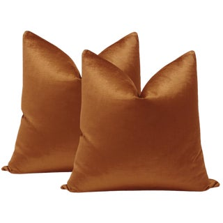 "22"" Amber Luxe Velvet Pillows - a Pair For Sale"