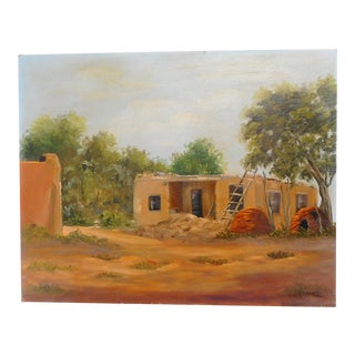 Vintage Mid-Century LaVerne Taos House Oil on Board Painting For Sale