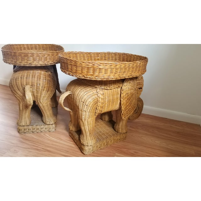 Brown 1960s Boho Chic Woven Elephant Tray Tables - a Pair For Sale - Image 8 of 10