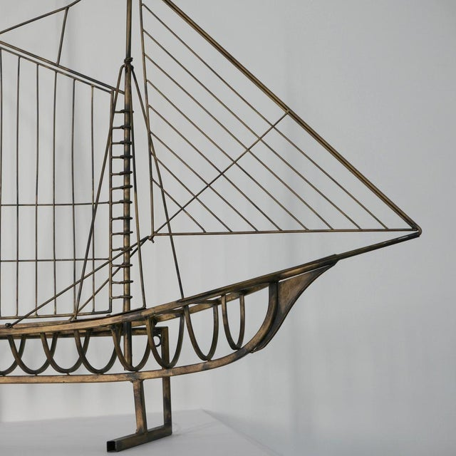 1970s Vintage Brass Skeleton Ship Sculpture Attributed to Curtis Jeré For Sale - Image 5 of 6