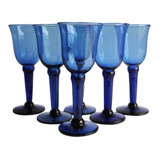 Vintage Blue Wine Glasses - Set of 6