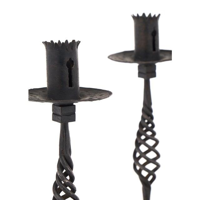 Black Vintage Forged Iron Candelsticks For Sale - Image 8 of 12
