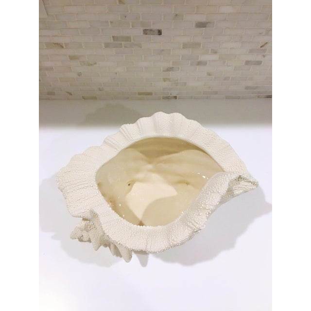 Ceramic Textured Cream Conch Shell Planter - Image 3 of 6