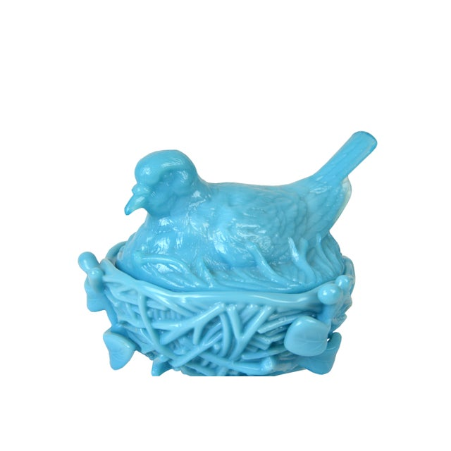 Vintage Turquoise Milk Glass Covered Bird Dish - Image 2 of 4