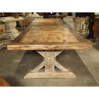 16 Foot Long Oak Parquet Top Dining Table From France Preview