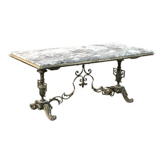 Neoclassical Marble Top Painted Coffee Table