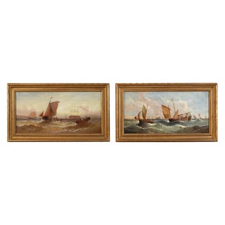 Marine Seascape Oil Paintings - a Pair For Sale