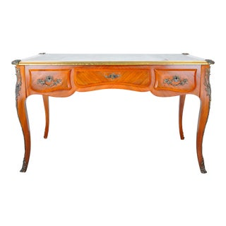 1920s French Louis XV Mahogany Ornate Writing Desk W/ Green Leather Top For Sale