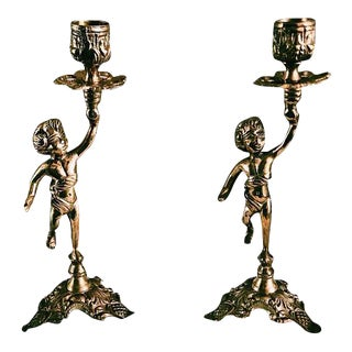 Vintage Brass Cherub Candle Holders - A Pair
