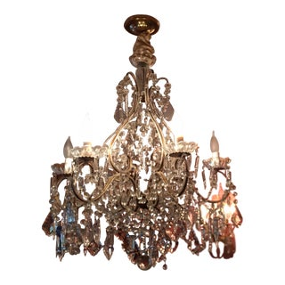 Vintage French Beaded Crystal Chandelier