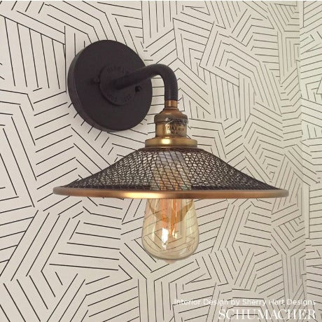 Contemporary Sample - Schumacher Deconstructed Stripe Geometric Wallpaper in Ivory on Black For Sale - Image 3 of 5