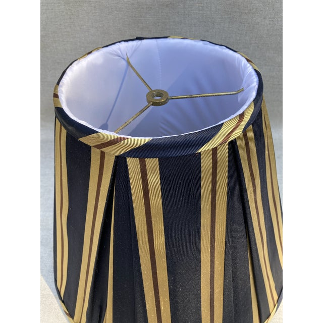 Traditional Vintage Pleated Striped Silk Lampshade For Sale - Image 3 of 4