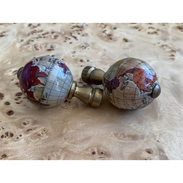 Vintage Globe Finials - a Pair For Sale In West Palm - Image 6 of 7