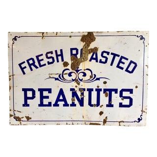 "Vintage ""Fresh Roasted Peanuts"" Porcelain Advertising Sign"