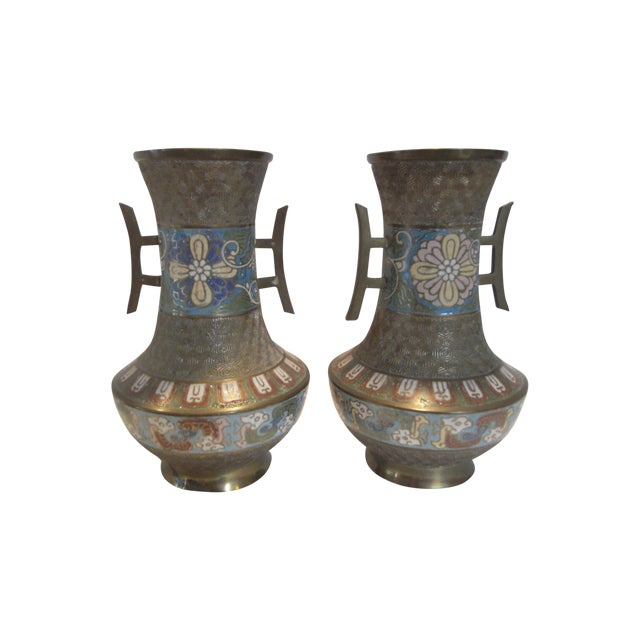 Antique Bronze Champleve Urns - A Pair - Image 1 of 11