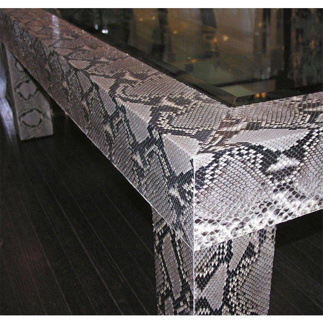 Modern Python Cocktail Table with Inset Glass Top For Sale - Image 3 of 6