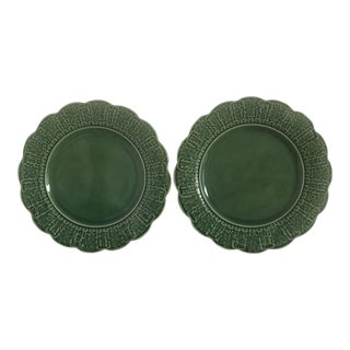 "20th Century Cottage Bordallo Pinhiero 12"" Plates With Leaves and Berries - a Pair For Sale"