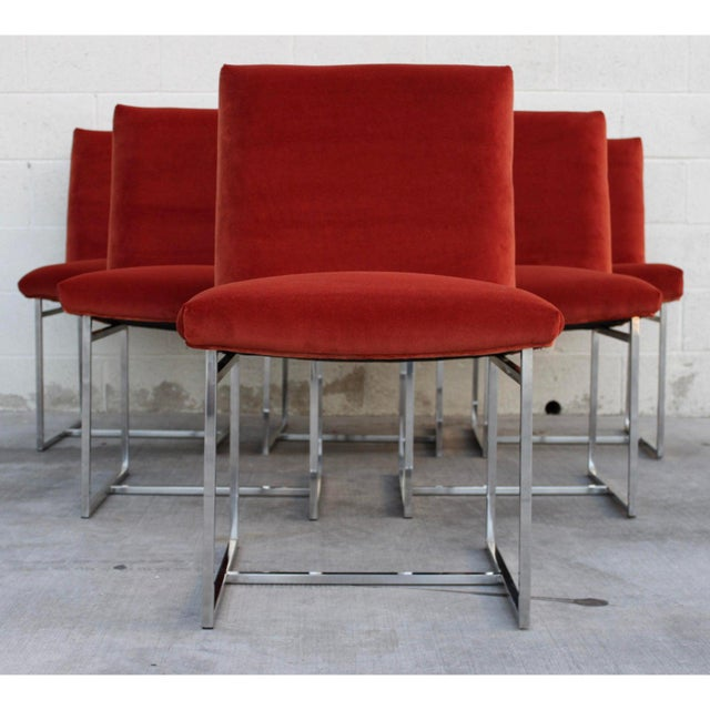 Mid Century Modern Milo Baughman for Thayer Coggin Rust Persimmon Dining Chairs-Set of 6 For Sale In San Diego - Image 6 of 10