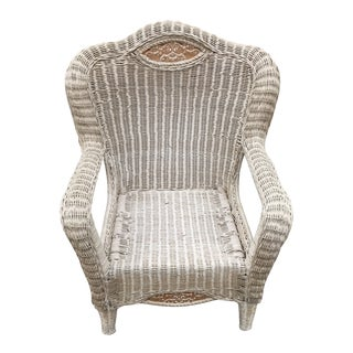 Late 20th Century Victorian Style White Wicker Lounge Chair For Sale