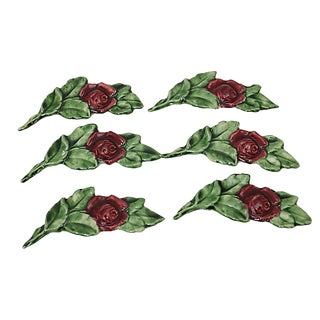 French Majolica Rose Knife Rests, S/6 For Sale