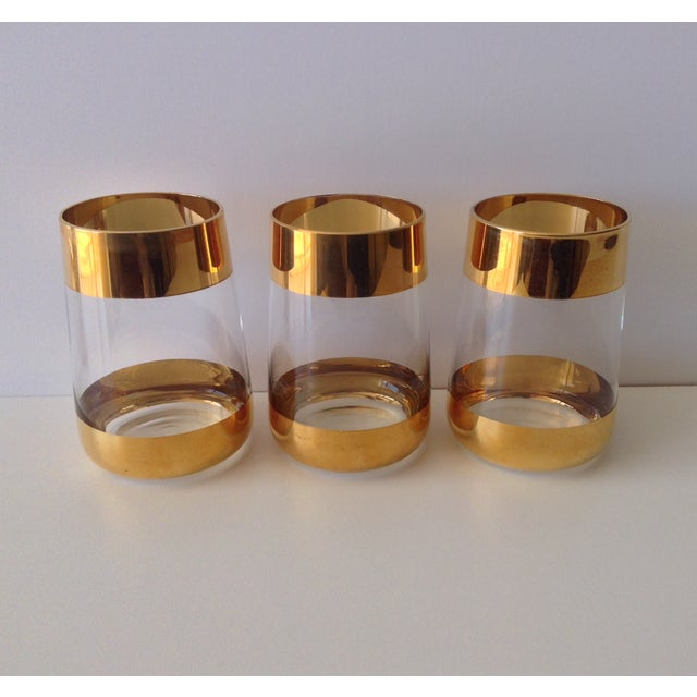 Italian 24k Gold Banded Glasses - Set of 3 - Image 6 of 8
