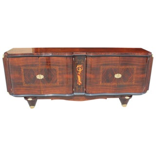 1940s French Art Deco Jules Leleu Style Palisander Rio Sideboard For Sale