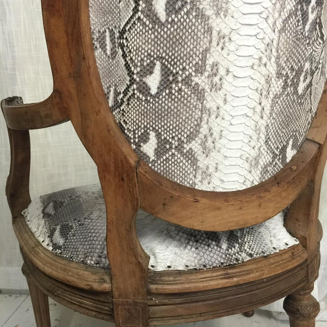 Hollywood Regency Daf House Genuine Python Leather and Swarovski Crystal Arm Chair For Sale - Image 9 of 12