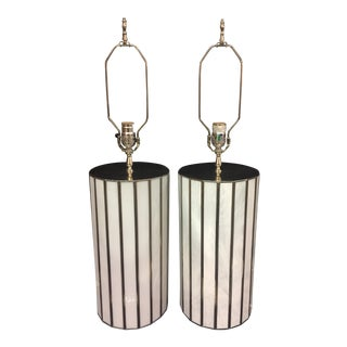 Worlds Away Gordo White & Silver Glass Table Lamps - A Pair