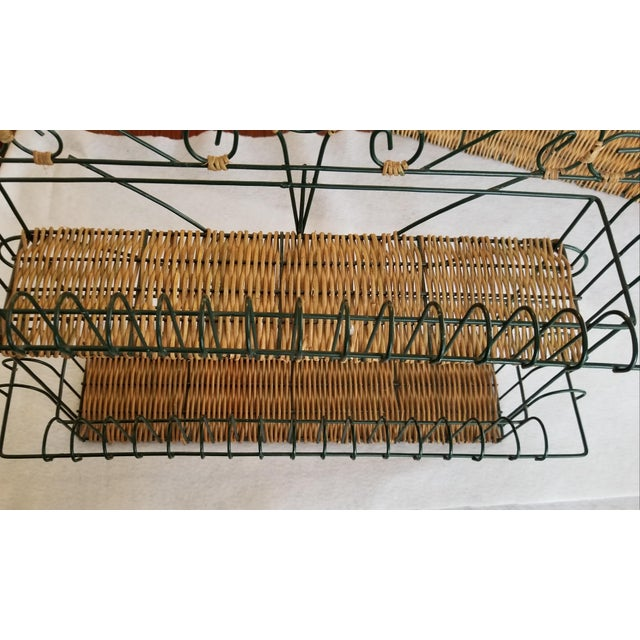 Cottage Late 20th Century Wicker and Green Metal Wire Wall Shelves - 3 Pieces For Sale - Image 3 of 9