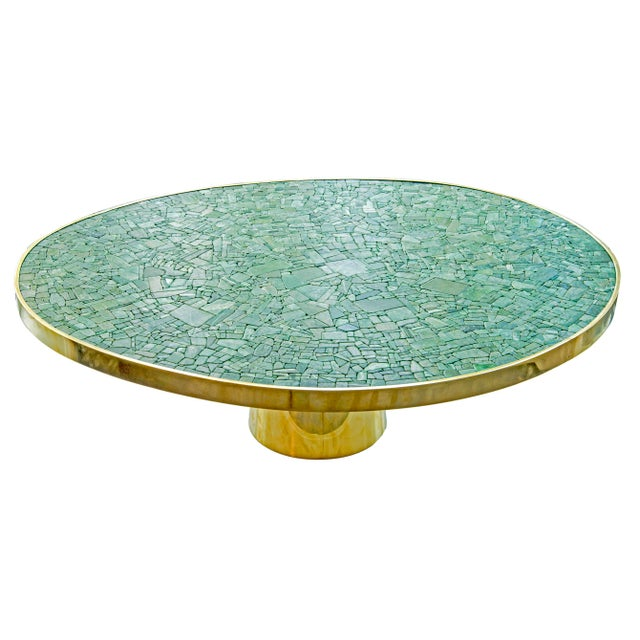 KAM TIN new and unique table in jade Made of natural jade, bronze and brass Unique piece France, 2019 H 35 x W 110 x D 90 cm
