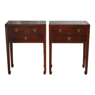 Elm Wood Lacquered Side Tables - a Pair For Sale