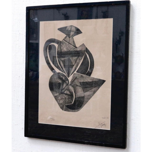 Black Signed French Abstract Graphite on Paper For Sale - Image 8 of 10