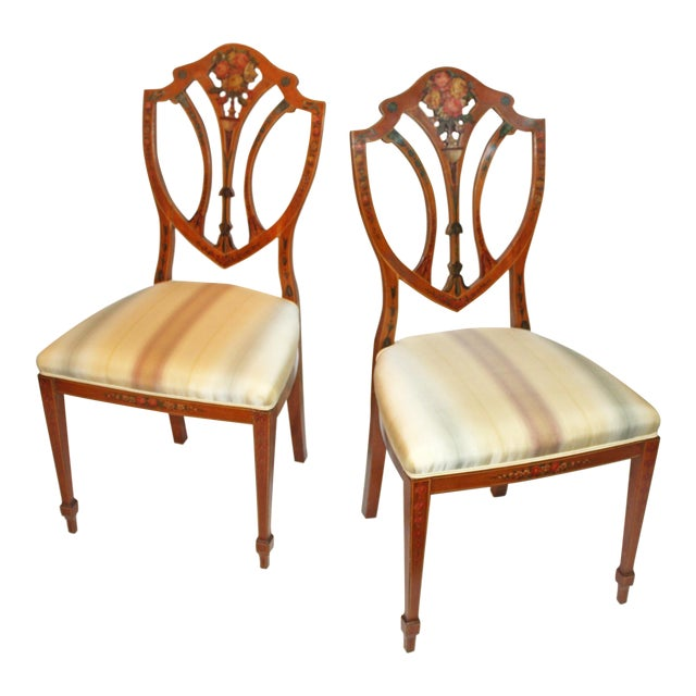 Pair of Painted Edwardian Satinwood Shield Back Chairs For Sale