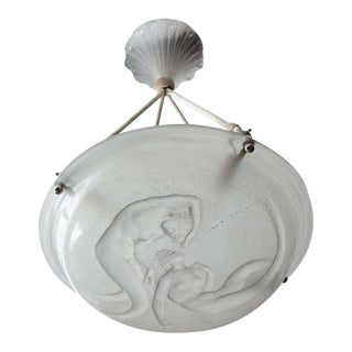 "Rare R. Lalique Chandelier ""Deux Sirenes"" For Sale"