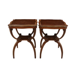 Vintage Regency Style Leather Topped Side Tables - a Pair For Sale