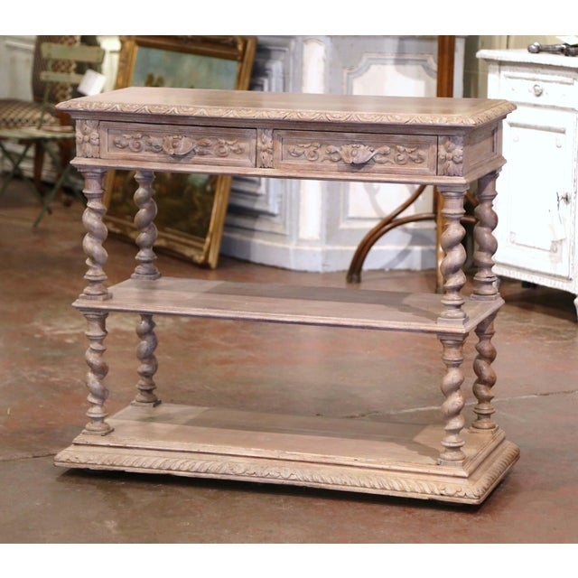 19th Century French Henri II Carved White Washed Oak and Marble Sideboard Server For Sale - Image 13 of 13