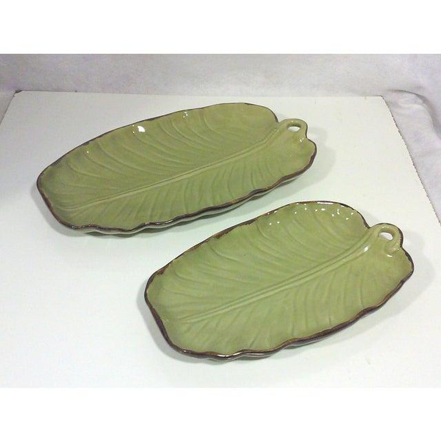 Tropical Banana Leaf Ceramic Platters - A Pair - Image 2 of 5