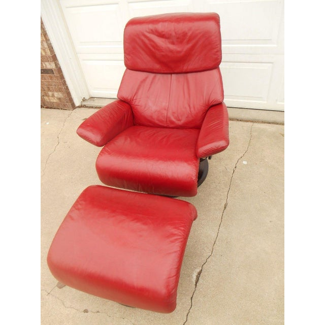 Ekornes Stressless Dream Red Leather Chair With Ottoman For Sale - Image 6 of 11