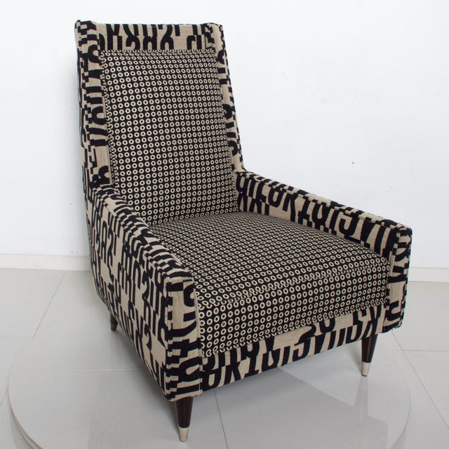"For your Consideration: Fabulous Gio Ponti Style Wingback Lounge Chairs with Fancy Gold Trimmed Legs Dimensions Are: 38"" H..."