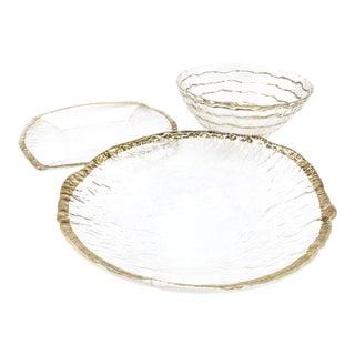 1950's Mid Century Ivv Glacier Ice Italian Art Glass Pieces - Set of 3 For Sale