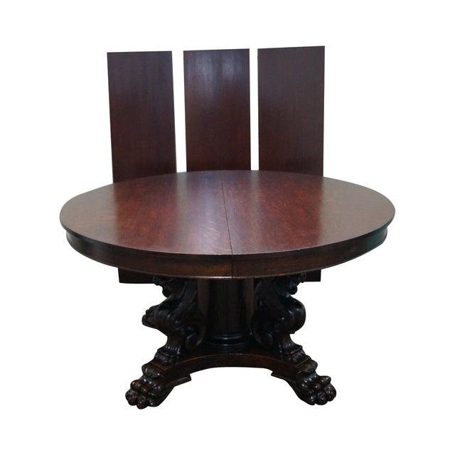 RJ Horner Antique Round Oak Griffin Dining Table - Image 1 of 10