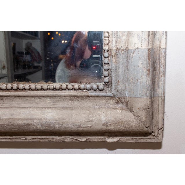 Antique French Louis Philippe Mirror With Hand Painted Greige Stripe Finish For Sale In Houston - Image 6 of 13
