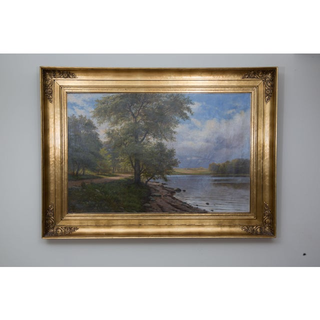 Canvas European Landscape Painting Oil on Canvas For Sale - Image 7 of 7