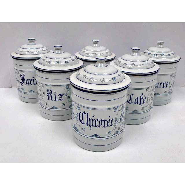 Vintage French Country Enamel Canister Set - Set of 6 For Sale - Image 13 of 13
