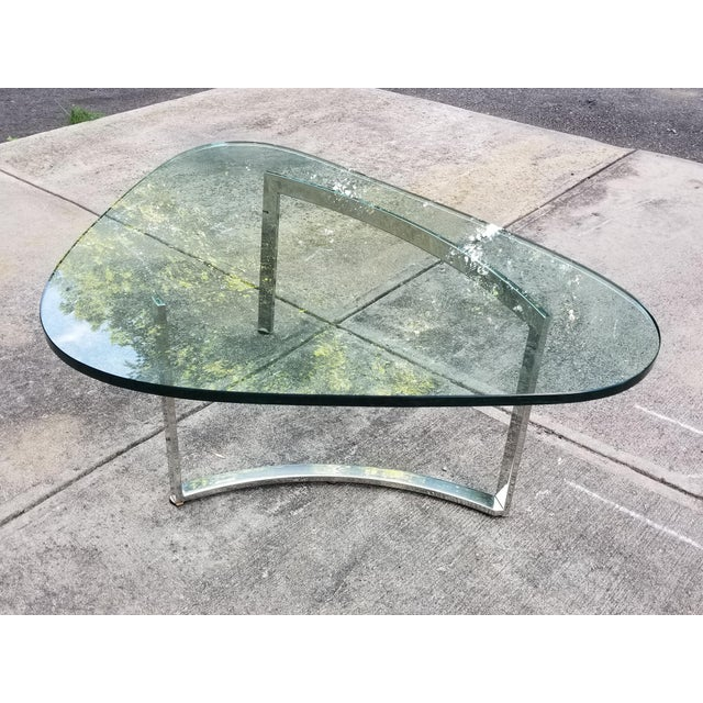 Mid-Century Modern Italian Glass & Chrome Boomerang Style Coffee Table - Image 4 of 10
