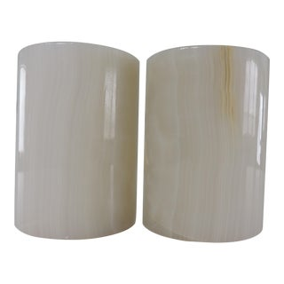 Mid Century Modern Alabaster Half Circle Modern Bookends - a Pair For Sale