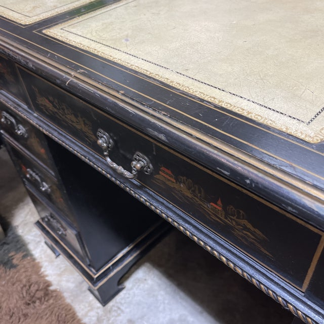 Chinoiserie Leather Too Writing Desk For Sale - Image 9 of 13