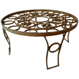 Mid Century Mexican Modernist Talleres Chacón Round Coffee Table, Forged Iron For Sale